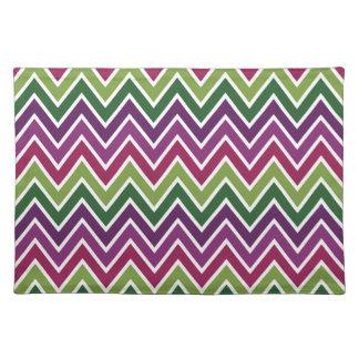 Raya verde y púrpura Placemat de Chevron Manteles Individuales