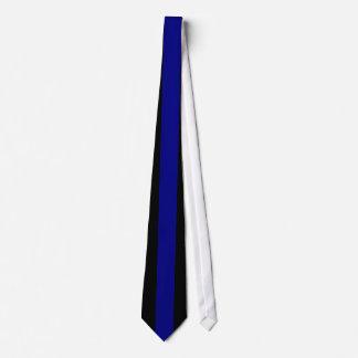 Raya vertical de los azules marinos en negro corbatas personalizadas