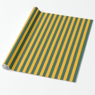 Raya vertical del oro verde y amarillo papel de regalo