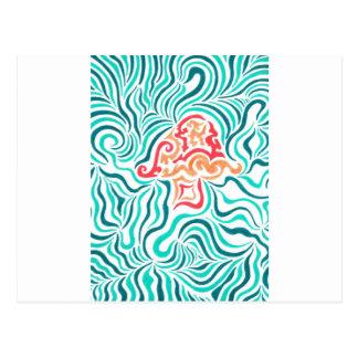 Raya y seta verdes de la cebra tarjetas postales