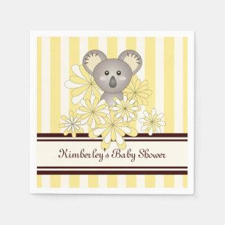Rayado amarillo personalizada koala linda del bebé servilletas de papel
