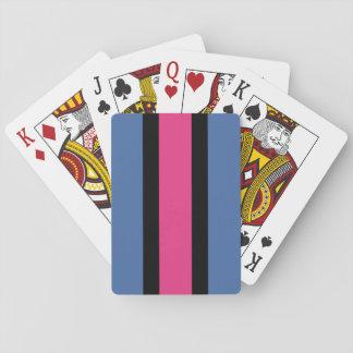 Rayado azul, rosado, negro barajas de cartas