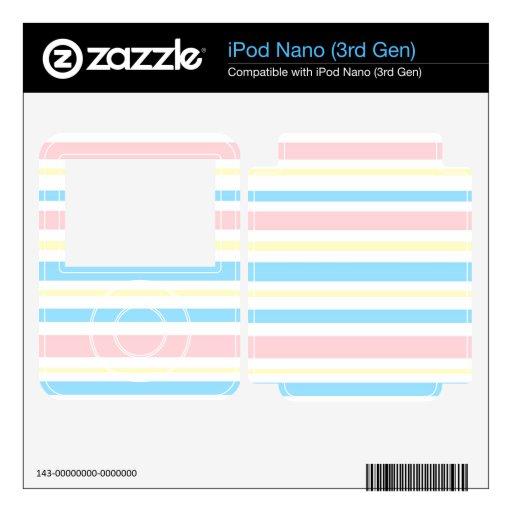 Rayado azul y amarillo rosado skins para iPod nano