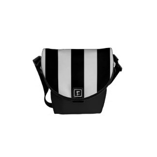 Rayado blanco y negro elegante - la bolsa de mensa bolsa de mensajería
