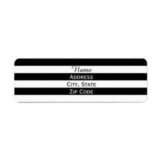 Rayado blanco y negro etiqueta de remite