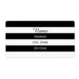 Rayado blanco y negro etiquetas de envío