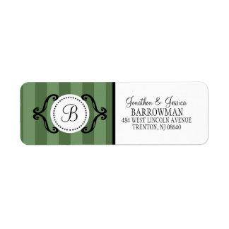 Rayado encantador verde del pistacho personalizado etiqueta de remite