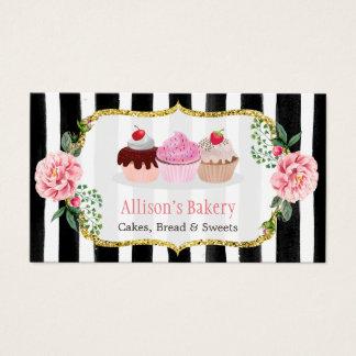 Rayado floral de la panadería de las magdalenas tarjeta de negocios