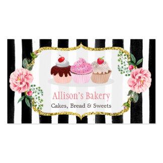 Rayado floral de la panadería de las magdalenas tarjetas de visita