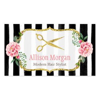 Rayado floral del estilista del rosa femenino tarjetas de visita