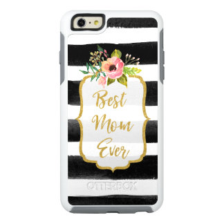 Rayado floral del mejor de la mamá nunca oro de la funda otterbox para iPhone 6/6s plus