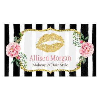 Rayado floral romántico de los labios del oro del tarjetas de visita