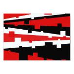 Rayado geométrico rojo invitación 8,9 x 12,7 cm