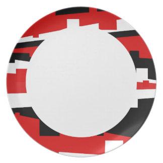 Rayado geométrico rojo plato para fiesta