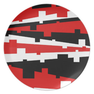 Rayado geométrico rojo platos de comidas