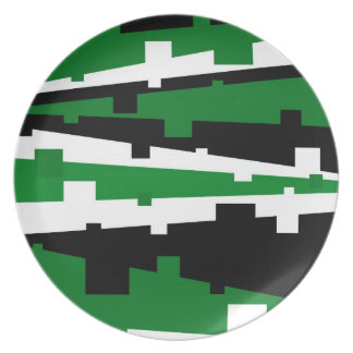 Rayado geométrico verde platos