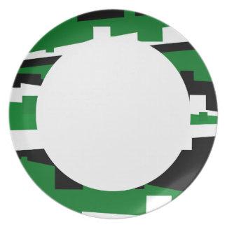 Rayado geométrico verde plato de cena