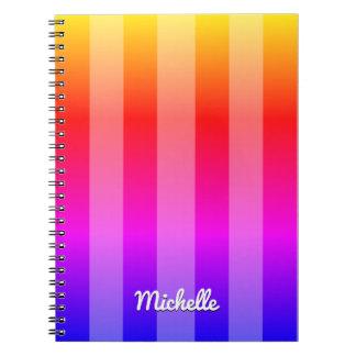 Rayado multicolor personalizado libros de apuntes con espiral