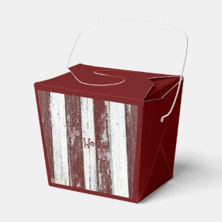 Rayado rojo y blanco rústico Ho Ho Ho Cajas Para Regalos De Boda