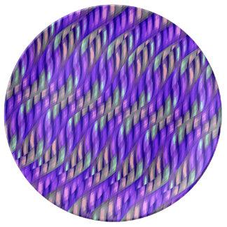 Rayar las ilustraciones abstractas púrpuras brilla plato de cerámica