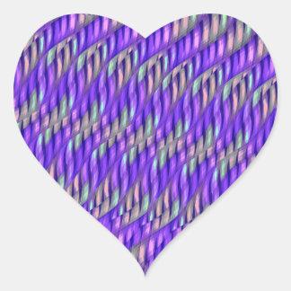 Rayar las ilustraciones abstractas púrpuras pegatina en forma de corazón