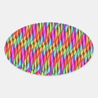 Rayar las ilustraciones brillantes del extracto pegatina ovalada