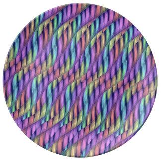 Rayar las ilustraciones en colores pastel del extr platos de cerámica