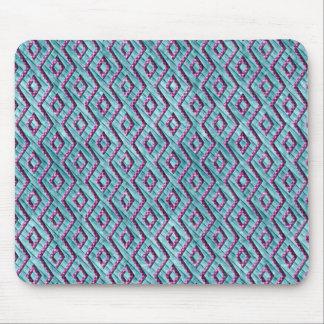 Rayas a cuadros aztecas rosadas y azules lindas mousepads