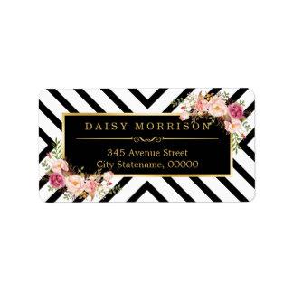 Rayas abstractas blancas del negro floral del oro etiquetas de dirección