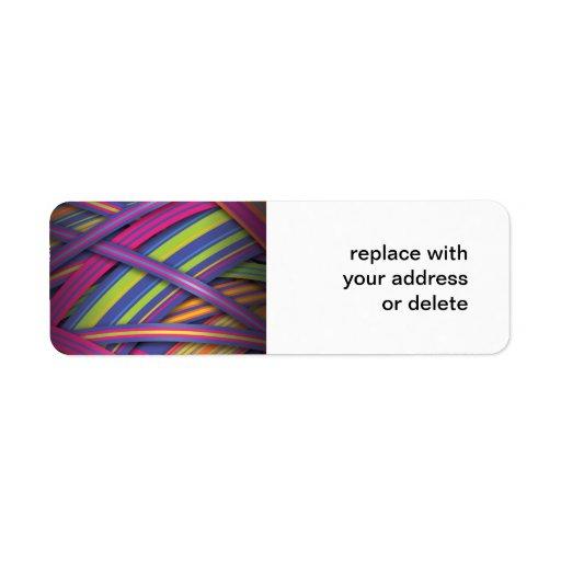 Rayas abstractas coloreadas disco etiqueta de remitente