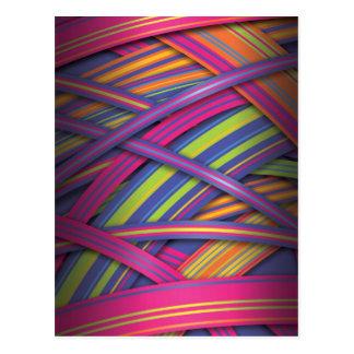 Rayas abstractas coloreadas disco tarjeta postal