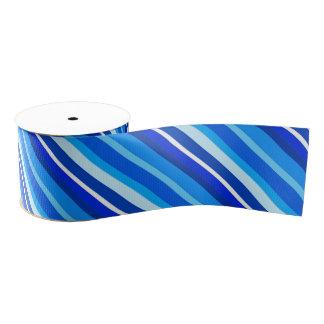 Rayas acodadas del caramelo - cobalto y azul claro lazo de tela gruesa