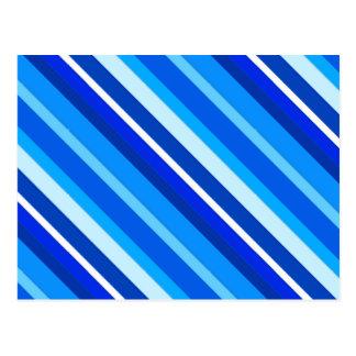 Rayas acodadas del caramelo - cobalto y azul claro postales