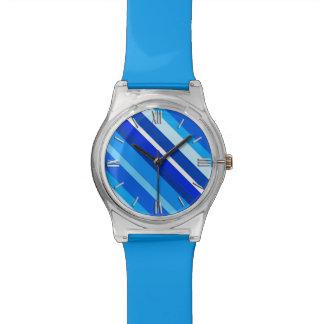 Rayas acodadas del caramelo - cobalto y azul claro relojes