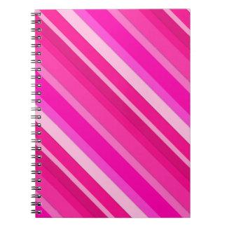 Rayas acodadas del caramelo - rosa y fucsia cuaderno