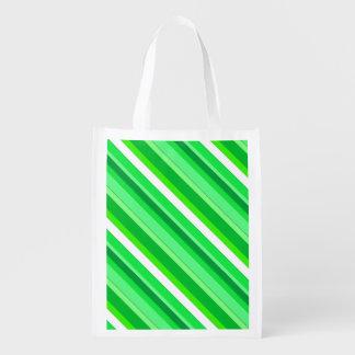 Rayas acodadas del caramelo - verde esmeralda y bolsa para la compra