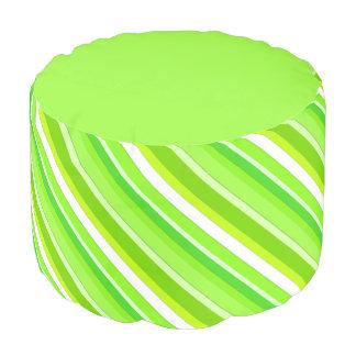 Rayas acodadas del caramelo - verde lima y blanco puf redondo