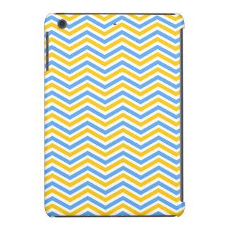 Rayas amarillas, azules, y blancas brillantes de C Fundas De iPad Mini Retina