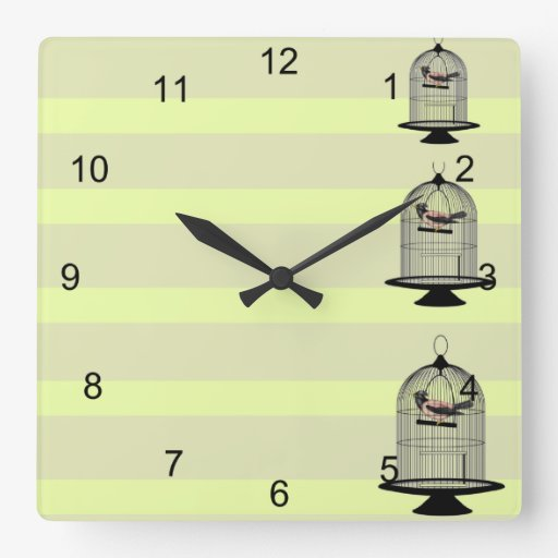 Rayas amarillas con los Birdcages del vintage Reloj Cuadrado