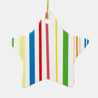 Rayas amarillas del verde azul adorno navideño de cerámica en forma de estrella