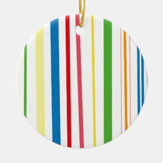 Rayas amarillas del verde azul adorno navideño redondo de cerámica