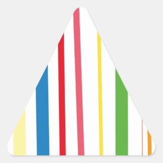 Rayas amarillas del verde azul pegatina de triangulo personalizadas
