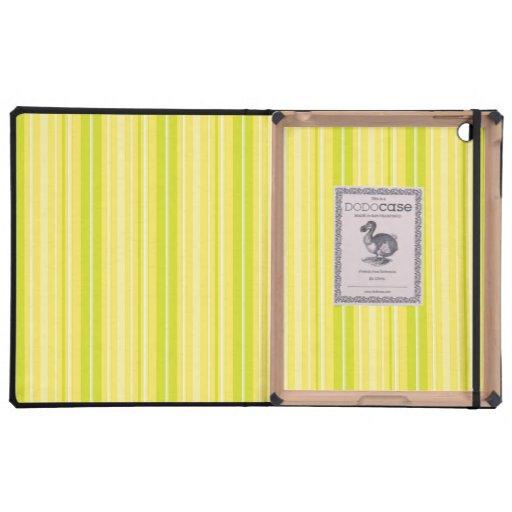 Rayas amarillas verdes de neón brillantes iPad protector