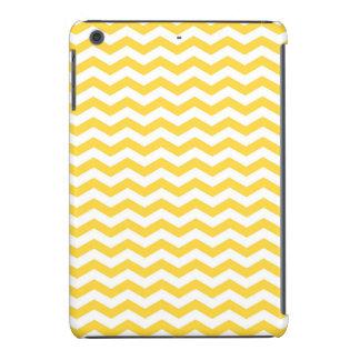 Rayas amarillas y blancas brillantes de Chevron Fundas De iPad Mini