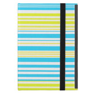 Rayas amarillas y blancas de los azules cielos iPad mini protectores
