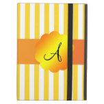 Rayas amarillas y blancas del monograma