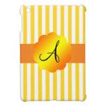 Rayas amarillas y blancas del monograma iPad mini protector