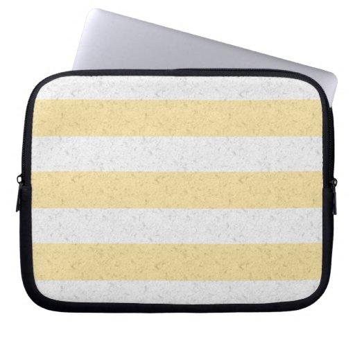 Rayas amarillas y blancas manga portátil