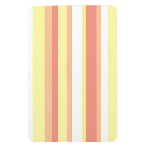 Rayas amarillas y blancas rosadas iman rectangular