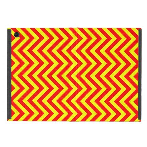 Rayas amarillas y rojas de Chevron o de los zigzag iPad Mini Funda